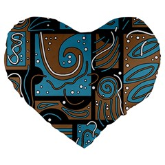 Blue And Brown Abstraction Large 19  Premium Heart Shape Cushions by Valentinaart