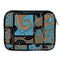 Blue And Brown Abstraction Apple Ipad 2/3/4 Zipper Cases by Valentinaart