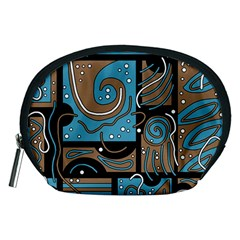 Blue And Brown Abstraction Accessory Pouches (medium)  by Valentinaart