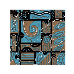 Blue And Brown Abstraction Small Satin Scarf (square)