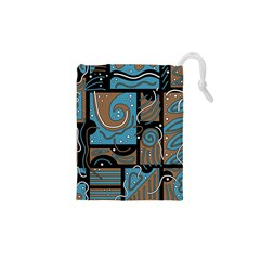 Blue And Brown Abstraction Drawstring Pouches (xs)  by Valentinaart