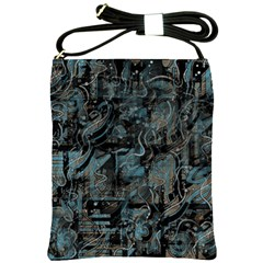 Blue Town Shoulder Sling Bags by Valentinaart