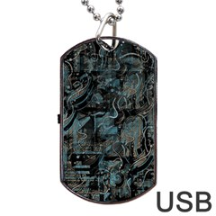 Blue Town Dog Tag Usb Flash (one Side) by Valentinaart