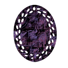Purple Town Oval Filigree Ornament (2 Side)  by Valentinaart