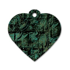 Green Town Dog Tag Heart (two Sides) by Valentinaart