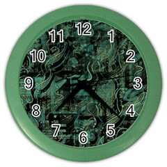 Green Town Color Wall Clocks by Valentinaart