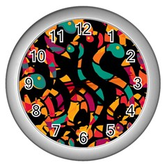 Colorful Snakes Wall Clocks (silver)  by Valentinaart