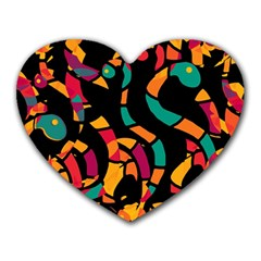 Colorful Snakes Heart Mousepads by Valentinaart