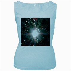 Sun Rays Through White Cherry Blossoms Women s Baby Blue Tank Top