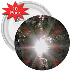 Sun Rays Through White Cherry Blossoms 3  Buttons (10 Pack)  by picsaspassion