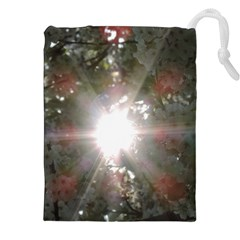 Sun Rays Through White Cherry Blossoms Drawstring Pouches (xxl) by picsaspassion