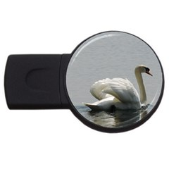 Swimming White Swan Usb Flash Drive Round (2 Gb)