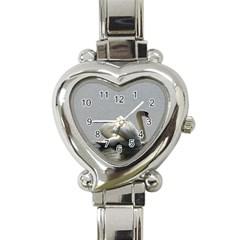 Swimming White Swan Heart Italian Charm Watch