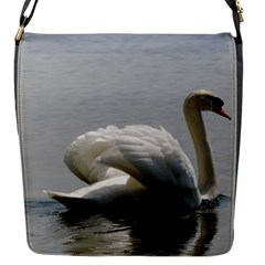 Swimming White Swan Flap Messenger Bag (s)