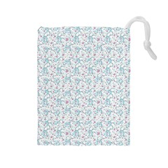 Intricate Floral Collage  Drawstring Pouches (large)  by dflcprintsclothing