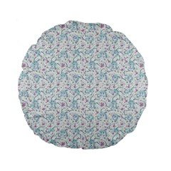 Intricate Floral Collage  Standard 15  Premium Flano Round Cushions by dflcprintsclothing