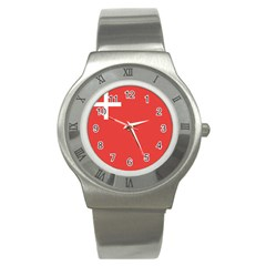 Flag Of Canton Of Schwyz Stainless Steel Watch by abbeyz71