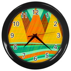 Orange And Green Landscape Wall Clocks (black) by Valentinaart