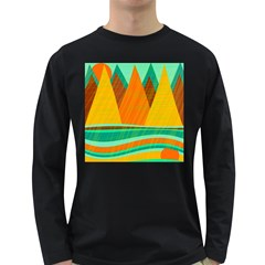 Orange And Green Landscape Long Sleeve Dark T Shirts by Valentinaart