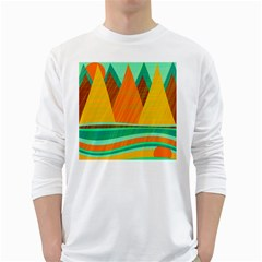 Orange And Green Landscape White Long Sleeve T Shirts by Valentinaart