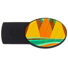 Orange And Green Landscape Usb Flash Drive Oval (4 Gb)
