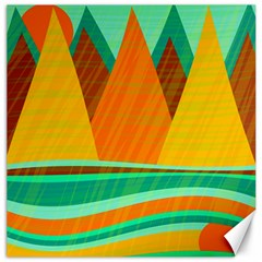 Orange And Green Landscape Canvas 16  X 16   by Valentinaart