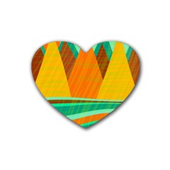 Orange And Green Landscape Rubber Coaster (heart)  by Valentinaart