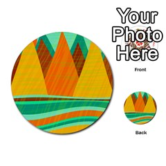 Orange And Green Landscape Multi Purpose Cards (round)  by Valentinaart