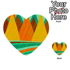 Orange And Green Landscape Multi Purpose Cards (heart)  by Valentinaart