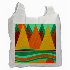 Orange And Green Landscape Recycle Bag (one Side) by Valentinaart