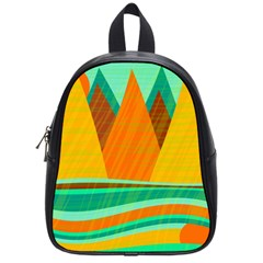 Orange And Green Landscape School Bags (small)  by Valentinaart