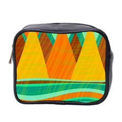 Orange And Green Landscape Mini Toiletries Bag 2 Side by Valentinaart