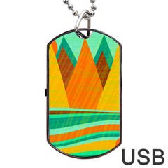 Orange And Green Landscape Dog Tag Usb Flash (two Sides)  by Valentinaart