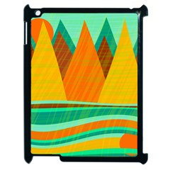 Orange And Green Landscape Apple Ipad 2 Case (black) by Valentinaart