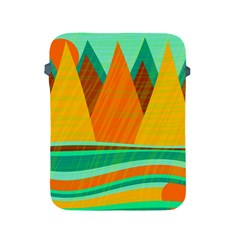 Orange And Green Landscape Apple Ipad 2/3/4 Protective Soft Cases by Valentinaart