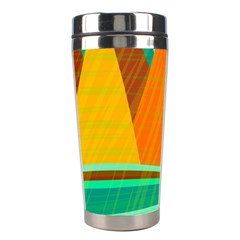 Orange And Green Landscape Stainless Steel Travel Tumblers by Valentinaart