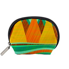 Orange And Green Landscape Accessory Pouches (small)  by Valentinaart
