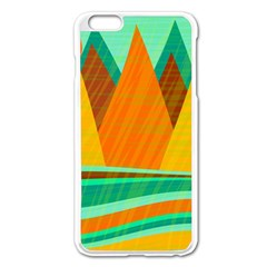 Orange And Green Landscape Apple Iphone 6 Plus/6s Plus Enamel White Case by Valentinaart
