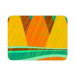 Orange And Green Landscape Double Sided Flano Blanket (mini)  by Valentinaart