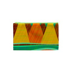 Orange And Green Landscape Cosmetic Bag (xs) by Valentinaart