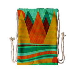 Orange And Green Landscape Drawstring Bag (small) by Valentinaart