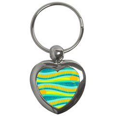 Yellow And Blue Decorative Design Key Chains (heart)  by Valentinaart