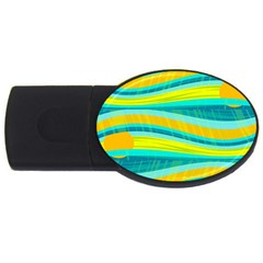 Yellow And Blue Decorative Design Usb Flash Drive Oval (2 Gb)  by Valentinaart