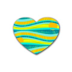 Yellow And Blue Decorative Design Rubber Coaster (heart)  by Valentinaart
