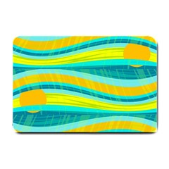 Yellow And Blue Decorative Design Small Doormat  by Valentinaart