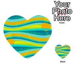 Yellow And Blue Decorative Design Multi Purpose Cards (heart)  by Valentinaart