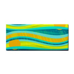 Yellow And Blue Decorative Design Hand Towel by Valentinaart