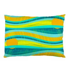 Yellow And Blue Decorative Design Pillow Case by Valentinaart