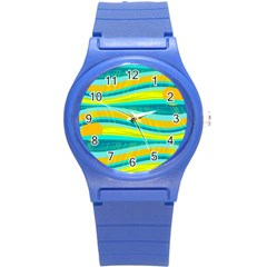 Yellow And Blue Decorative Design Round Plastic Sport Watch (s) by Valentinaart