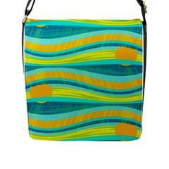 Yellow And Blue Decorative Design Flap Messenger Bag (l)  by Valentinaart